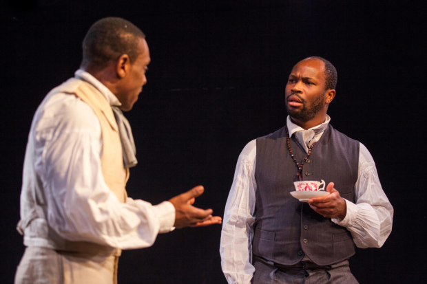 <p>Richard Pepple (Chancellor) and Stefan Adegbola (Chilford)  in <em>The Convert</em></p><br /> © Iona Firouzabadi