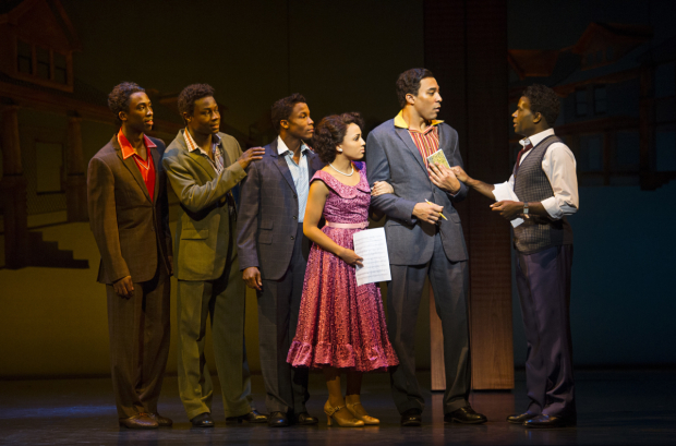 <p>Right to left: Cedric Neal (Berry Gordy), Charl Brown (Smokey Robinson) and cast of <em>Motown the Musical</em></p><br />© Alastair Muir