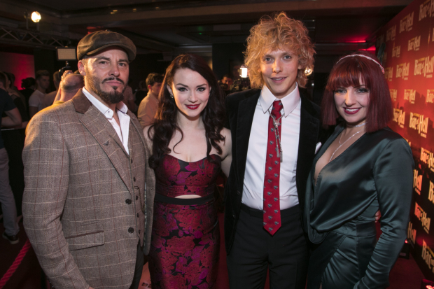 <p>Rob Fowler (Falco), Christina Bennigton (Raven), Andrew Polec (Strat) and Sharon Sexton (Sloane)</p><br />© Dan Wooller for WhatsOnStage
