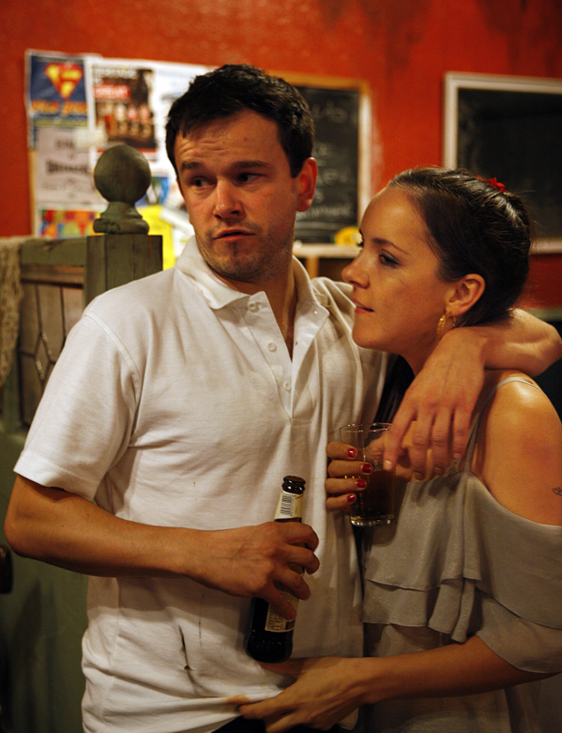 <p>Rob Ostlere and Lizzie Stanton in <em>Confessional</em></p><br />© Simon Annand