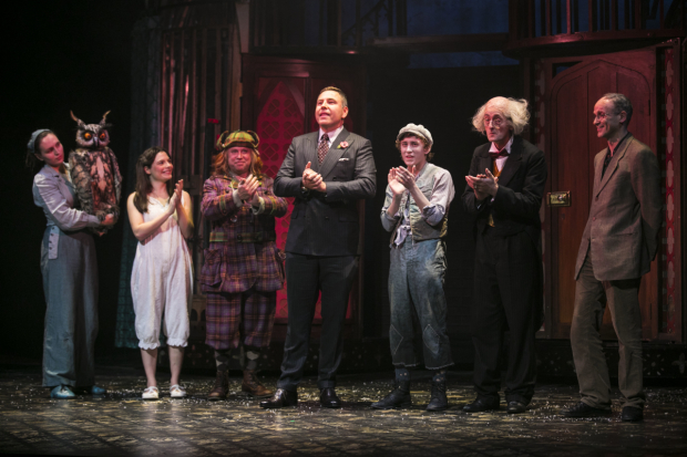 <p>Roberta Bellekom (Wagner), Georgina Leonidas (Stella Saxby),  Timothy Speyer (Aunt Alberta) , David Walliams (author), Ashley Cousins (Soot), Richard James (Gibbon) and Neal Foster (director/adaptation)</p><br />© Dan Wooller for WhatsOnStage