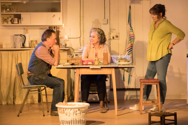 <p>Ron Cook (Robin), Francesca Annis (Rose), Deborah Findlay (Hazel) in <em>The Children</em></p><br />© Johan Persson