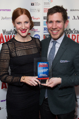 <p>Rosalie Craig and David Sabel accept the Award for Theatre Event of the Year for the National Theatre&#39&#x3B;s 50th anniversary gala</p><br />© Dan Wooller for WhatsOnStage