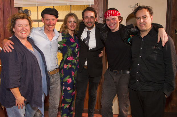 <p>Rosie Ede (Nurse), Peter Hamilton Dyer (Orwell), Cressida Bonas (Sonia), Jimmy Walters (Director), Edmund Digby Jones (Freud) and Robert Stocks (Warburg)</p><br />© ��Dan Wooller for WhatsOnStage