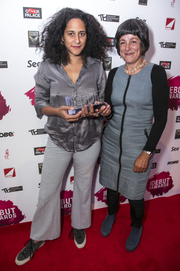 <p>Rosie Elnile accepts the Award for Best Designer, presented by Caro Newling</p><br />© Dan Wooller