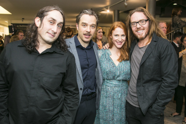 <p>Ross Noble (Igor), Hadley Fraser (Frankenstein), Rosalie Craig and Tim Minchin</p><br />© Dan Wooller for WhatsOnStage