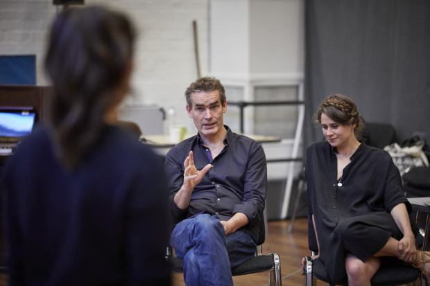 <p>Rufus Norris and Lucy Kirkwood in rehearsals for <em>Mosquitoes</em></p><br />© Brinkhoff/Moegenburg