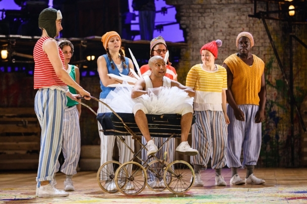 <p>Saikat Ahmed as Tinker Bell with the Lost Boys in <em>Peter Pan</em></p><br />© Steve Tanner