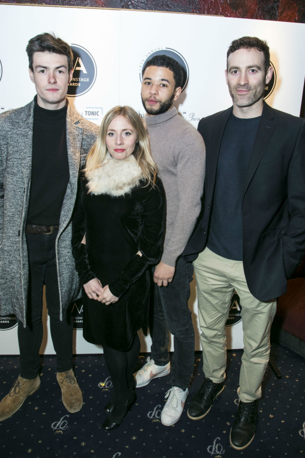 <p>Sam Frenchum, Sinead Matthews, Calvin Demba and Raphael Bar</p><br />© Dan Wooller for WhatsOnStage