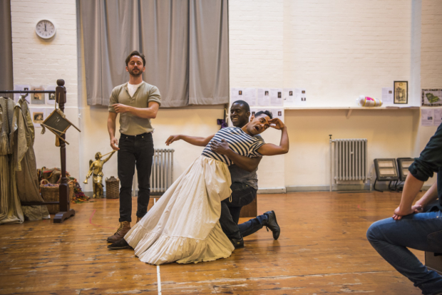<p>Sam Marks (Charles Hart), Leon Stewart (ensemble) and Esh Alladi (Edward Kynaston) in rehearsals for <em>Nell Gwynn</em></p><br />© Tristram Kenton