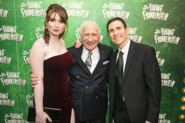 <p>Samantha Brooks, Mel Brooks and Eddie Brooks</p><br />© Dan Wooller for WhatsOnStage