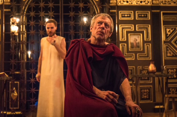 <p>Samuel Collings (Jesus) and Stephen Boxer (Tiberius Caesar)</p><br />© Marc Brenner