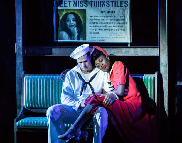 <p>Samuel Edwards and Miriam-Teak Lee as Ozzie and Claire in <em>On the Town</em></p><br />© Johan Persson
