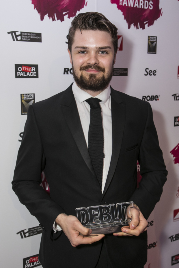 <p>Samuel Thomas accepts the Award for Best Actor in a Musical</p><br />© Dan Wooller