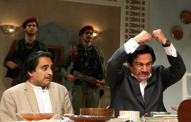 <p>Sanjeev Bhaskar (Ahmed Alawai), Steven Berkoff (Saddam Hussein), Zed Josef &amp&#x3B; Bally Gill (Soldiers)</p><br />© Catherine Ashmore