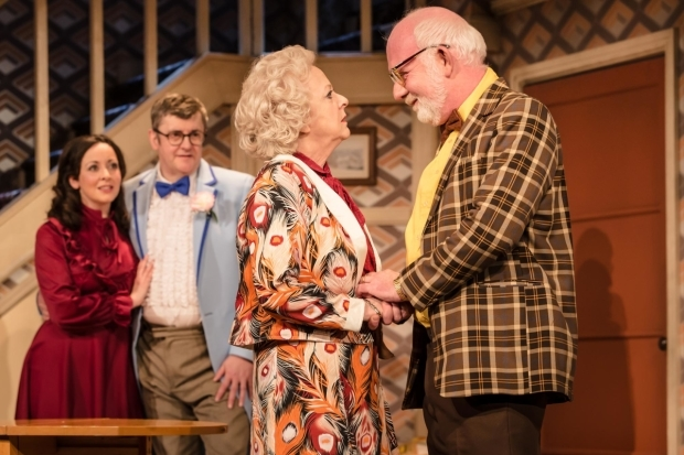 <p>Sarah Earnshaw as Betty, Joe Pasquale as Frank Spencer, Susie Blake as Mrs Fisher and Moray Treadwell as Mr Luscombe in <em>Some Mothers Do &#39&#x3B;Av &#39&#x3B;Em</em></p><br />© Scott Rylander