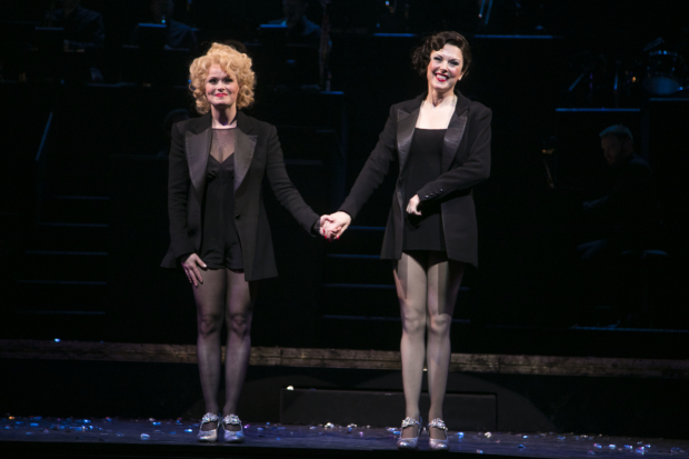 <p>Sarah Soetaert (Roxie hart) and Josefina Gabrielle (Velma Kelly) during the curtain call</p><br />© Dan Wooller for WhatsOnStage