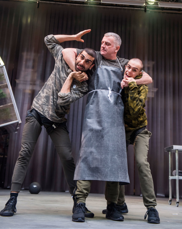 <p>Scott Karim (Guiderius), Martin Marquez (Belarius) and William Grint (Arviragus) in <em>Imogen</em></p><br />©Tristram Kenton