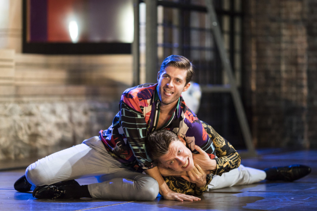 <p>Sean Hart as Demetrius and Luke MacGregor as Chiron</p><br />© Helen Maybanks