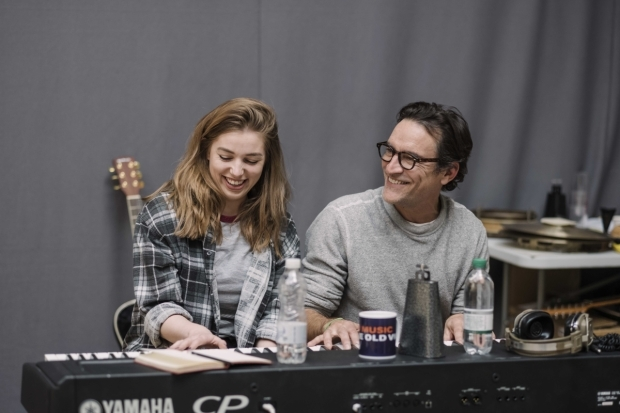 <p>Seána Kerslake and Ben Chaplin in rehearsals for <em>Mood Music</em></p><br />© Sarah Lee