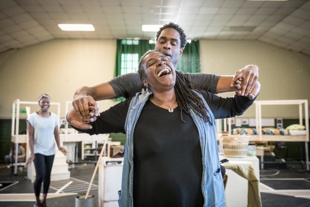 <p>Sharon D Clarke (Caroline Thibodeaux) and Ako Mitchell (The Dryer and The Bus) in rehearsal for <em>Caroline, or Change</em></p><br />© Marc Brenner