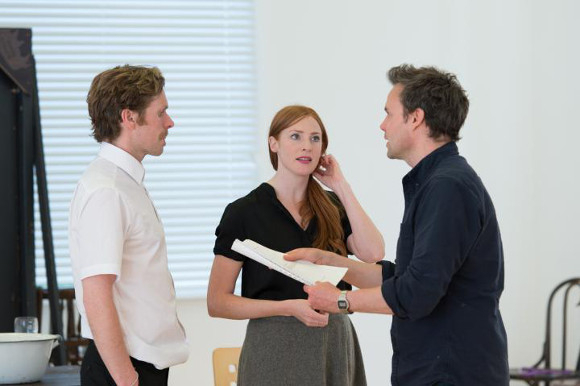 <p>Shaun Evans, Rosalie Craig and director Jamie Glover</p>
