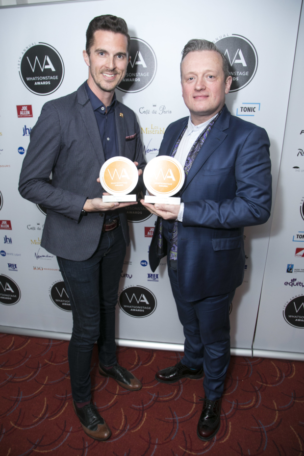 <p>Simon Adkins accepts the award for Best Costume Design for <em>42nd Street</em> on behalf of Roger Kirk and Christopher Howell accepts the award for Best Set Design for <em>42nd Street</em> on behalf of Douglas W Schmidt</p><br />© Dan Wooller for WhatsOnStage