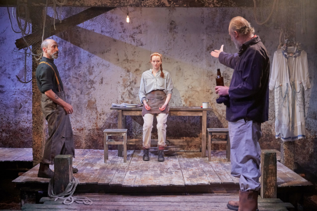 <p>Simon Gregor (Joshua), Rona Morrison (Maggie) and Aden Gillett (The Father) in <em>Orca</em></p><br />© Richard Lakos