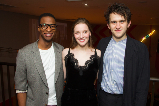 <p>Simon Manyonda (Edmond), Morfydd Clark (Cordelia) and Harry Melling (Edgar)</p><br />© Dan Wooller, 2016