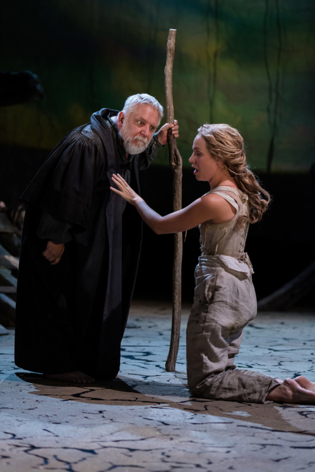 <p>Simon Russell Beale as Prospero, Jenny Rainsford as Miranda in <em>The Tempest</em></p><br />Topher McGrillis © RSC