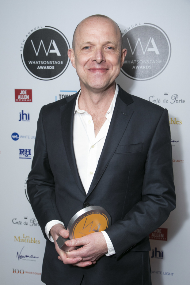 <p>Simon Williams accepts the award for Best Show Poster for <em>Harry Potter and the Cursed Child</em></p><br />© Dan Wooller for WhatsOnStage
