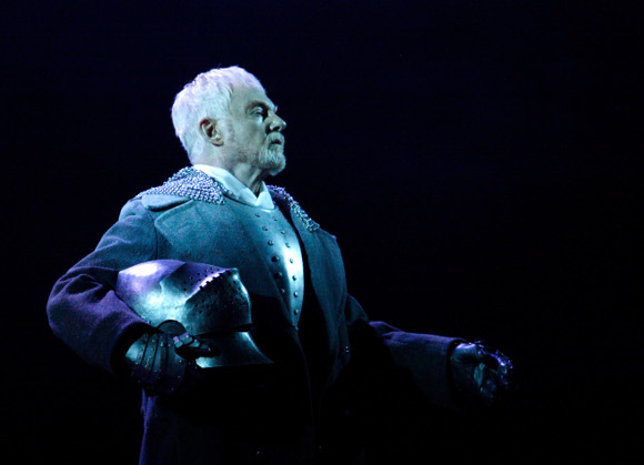 <p>Sir Derek Jacobi as the Ghost in <em>Hamlet</em> (he played Laertes in the NT's opening production of <em>Hamlet</em> in 1963)</p><br />© Catherine Ashmore