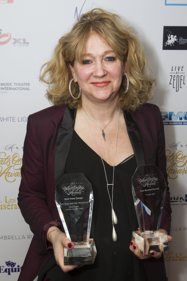 <p>Sonia Friedman accepts the awards for Best Video Design (<em>Harry Potter and the Cursed Child</em>) and Best Musical Revival (<em>Funny Girl</em>)</p><br />© Dan Wooller for WhatsOnStage