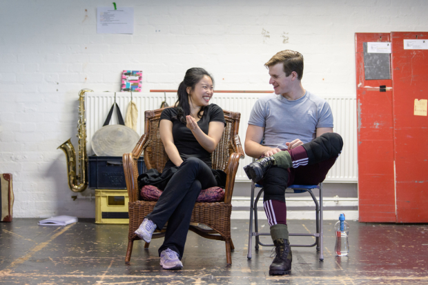 <p>Sooha Kim (Kim) and Ashley Gilmour (Chris) in rehearsals for <em>Miss Saigon</em> </p><br />© Manuel Harlan