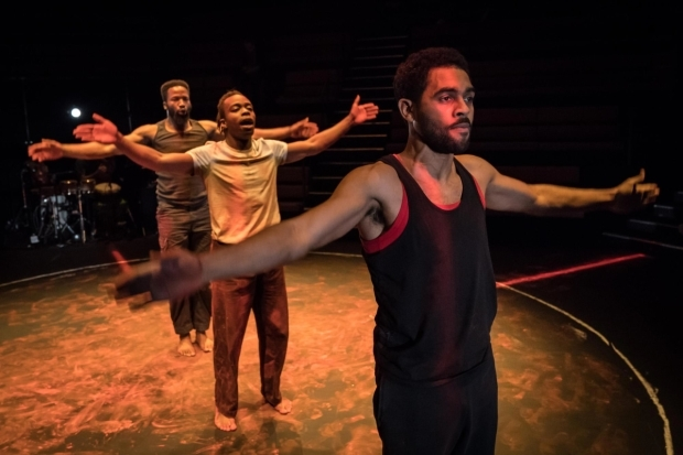 <p>Sope Dirisu, Jonathan Ajayi and Anthony Welsh in <em>The Brothers Size</em></p><br />©  Marc Brenner