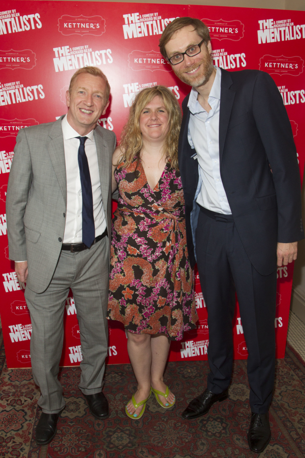 <p>Steffan Rhodri (Morrie), Abbey Wright (director) and Stephen Merchant (Ted)</p><br />© Dan Wooller for WhatsOnStage