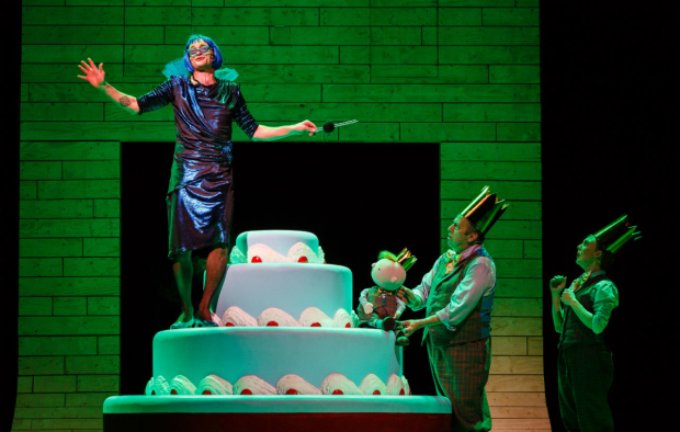 <p>Stu Goodwin (Sylvia), Joe Hall (King Derek) and Lucy Tuck (Queen Vanessa) in  <em>Sleeping Beauty</em> at the Bristol Old Vic </p><br />(c) Steve Tanner