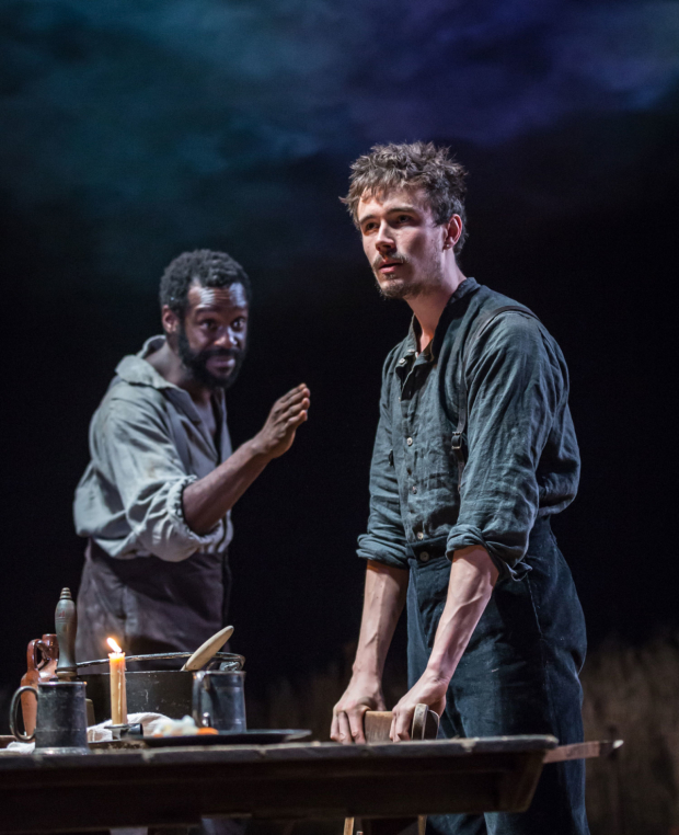 <p>Sule Rimi (Simeon) and Michael Shea (Eben) in <em>Desire Under the Elms</em></p><br />© Marc Brenner