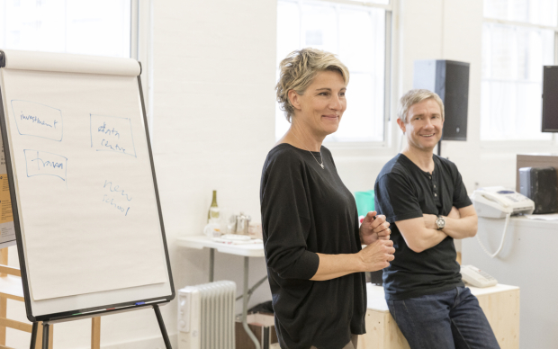 <p>Tamsin Greig and Martin Freeman</p><br />© Marc Brenner