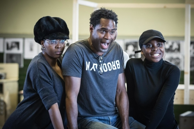 <p>T&#39&#x3B;shan Williams (Radio 1), Ako Mitchell (The Dryer and The Bus) and Sharon Rose (Radio 2) in rehearsal for <em>Caroline, or Change</em></p><br />© Marc Brenner