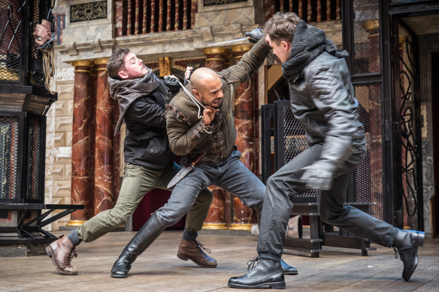 <p>Terence Keeley (ensemble), Jermaine Dominique (Banquo) and Freddie Stewart (Malcolm)</p><br />© Marc Brenner