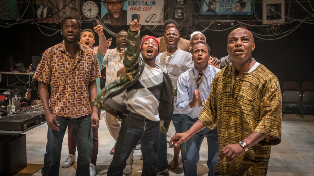 <p>The cast of <em>Barber Shop Chronicles</em></p><br />© Marc Brenner