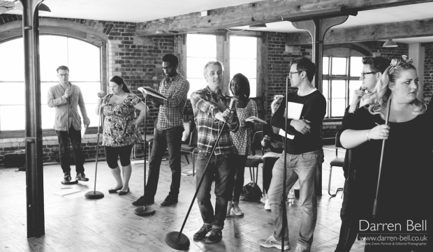 <p>The cast of <em>How to Succeed in Business Without Really Trying</em></p><br />© Darren Bell