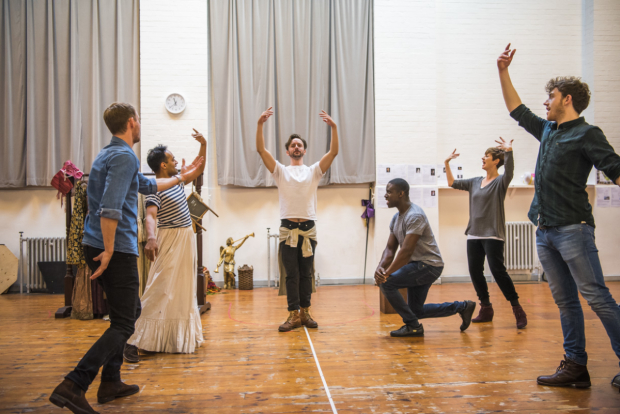 <p>The cast of <em>Nell Gwynn</em> in rehearsals</p><br />© Tristram Kenton