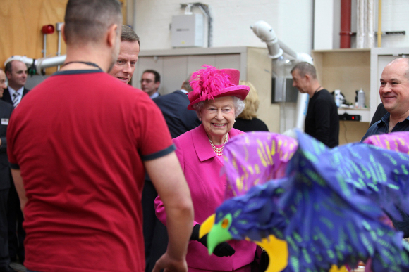 <p>The Queen tours the props workshops</p>