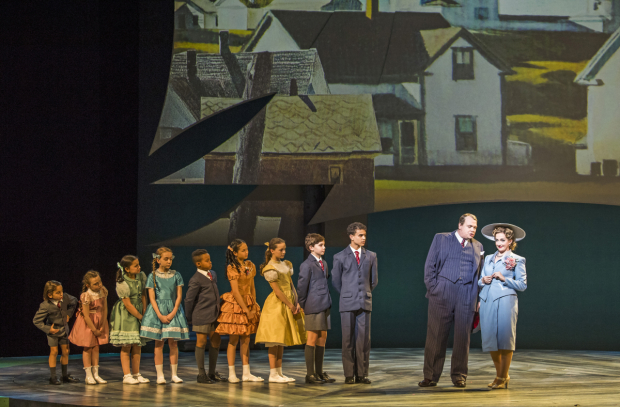 <p>The Snow family children, Gavin Spokes (Mr Snow), Alex Young (Mrs Snow) in <em>Carousel</em></p><br />©Tristram Kenton