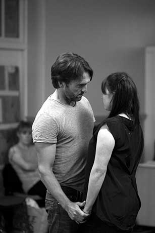 <p>Tim Rogers (Billy Bigalow) and Gemma Sutton (Julie Jordan) in rehearsal for <em>Carousel</em></p><br />© QNQ Creative