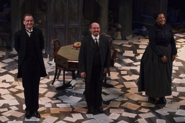 <p>Tim Wallers (Bennett), Forbes Masson (Lenin) and Sarah Quist (Nadya)</p><br />© Dan Wooller for WhatsOnStage