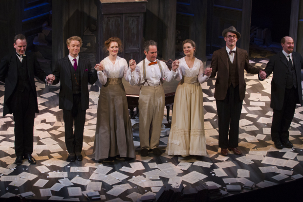 <p>Tim Wallers (Bennett), Freddie Fox (Tristan Tzara), Clare Foster (Cecily), Tom Hollander (Henry Carr), Amy Morgan (Gwendolen), Peter McDonald (James Joyce) and Forbes Masson (Lenin)</p><br />© Dan Wooller for WhatsOnStage
