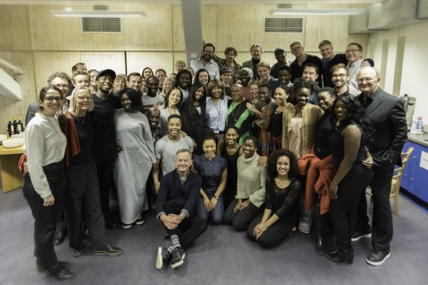 <p>Tina Turner with the company and crew of <em>Tina the Musical</em> </p><br />© Johan Persson